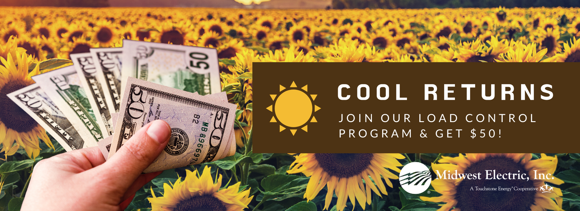Join Cool Returns to get a $50 rebate today and help the co-op with load control!