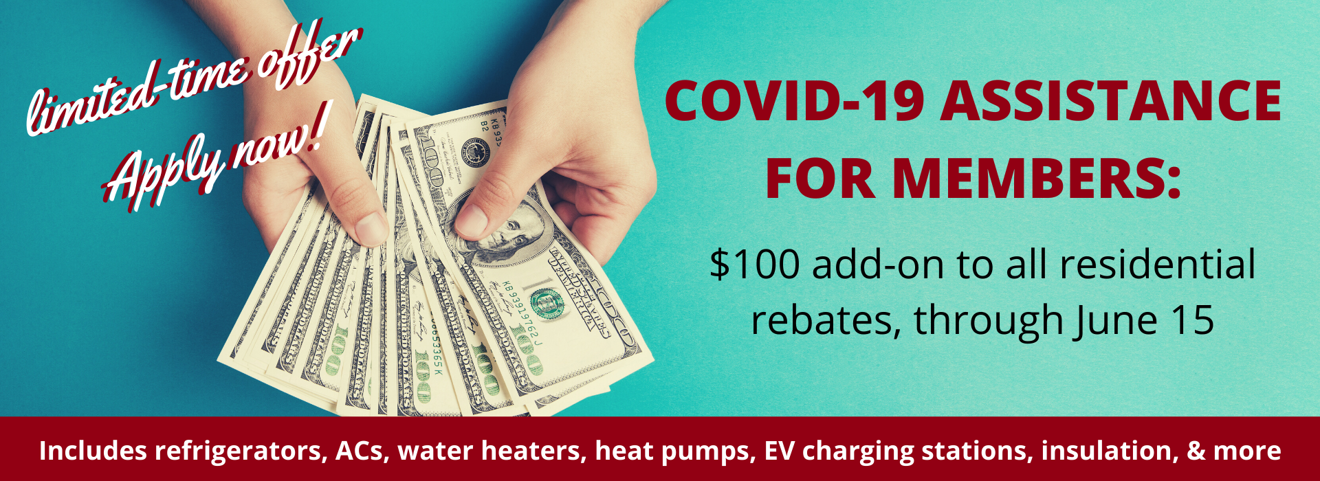 Get an extra $100 in rebates through June 15 for COVID-19 assistance from your co-op
