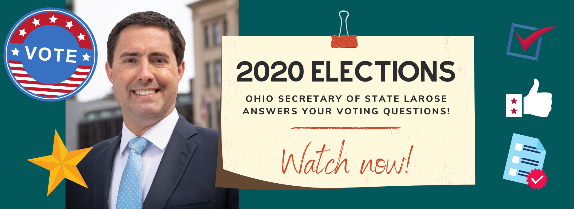 Watch our voting webinar with Ohio Secretary of State Frank LaRose!