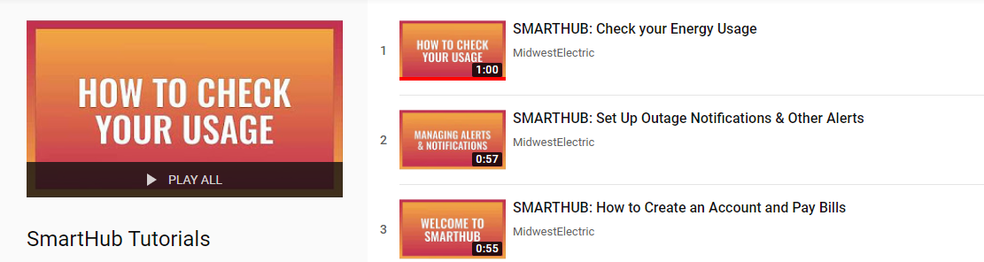 Watch our SmartHub tutorial videos on YouTube